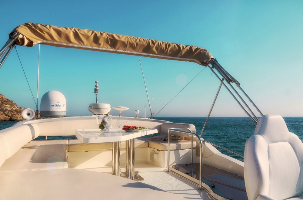 "Mykonos Yachting-Private & Luxury Yacht Charter-""Escape "" - Azimut 43 Flybridge"